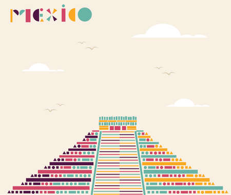 Mexican pyramid triangle geometric illustration.  Vector