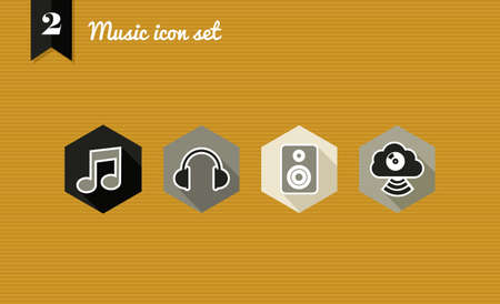 Music flat icon set, web app for playing songs.  Vector
