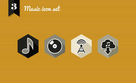 Music flat icon set: online app play listen download songs.  Vector