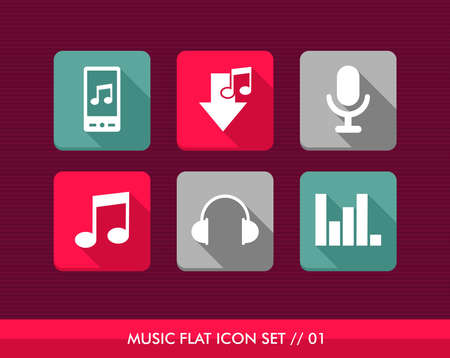 Colorful Music flat icon set, smart phone app to listen and download songs. Stock Vector - 21509637