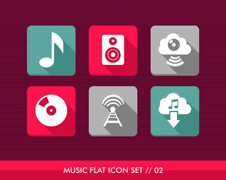 Colorful Music flat icon set, web apps to listen and download songs.  Vector
