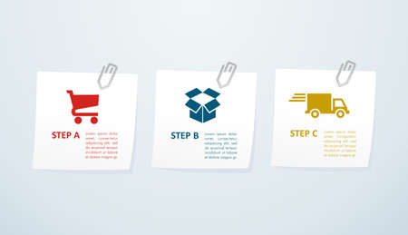 Web shopping and shipping info graphic icons steps.  Vector