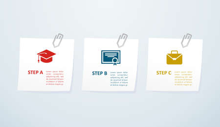 Educational career success info graphic icons steps. Vector