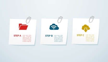 Cloud storage info graphic steps icons illustration. Stock Vector - 21509635