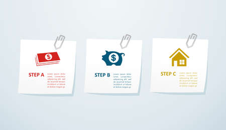 package printing: Real estate info graphics concept: saving and purchasing properties online.
