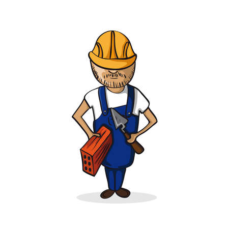 Professional career construction man work success illustration. Vector file layered for easy personalization. Vector