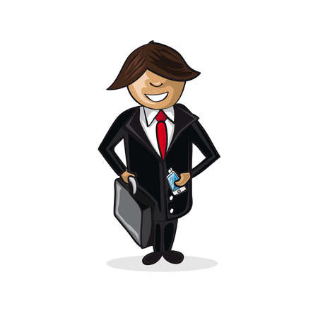 Professional career business cartoon man work success illustration.  Stock Vector - 21509270