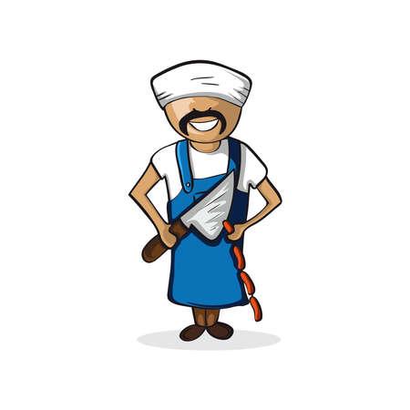 Profession career butcher man work success illustration. Stock Vector - 21509275