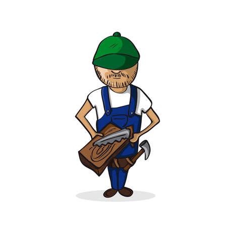 Profession career woodcraft man work success illustration.