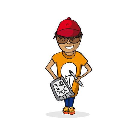 Profession career graphic designer man work success illustration. Stock Vector - 21509272