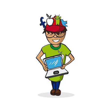 smm: Profession career, social media manager man, work success illustration.