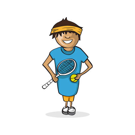 Profession career, tennis player man, work success illustration. Stock Vector - 21490452