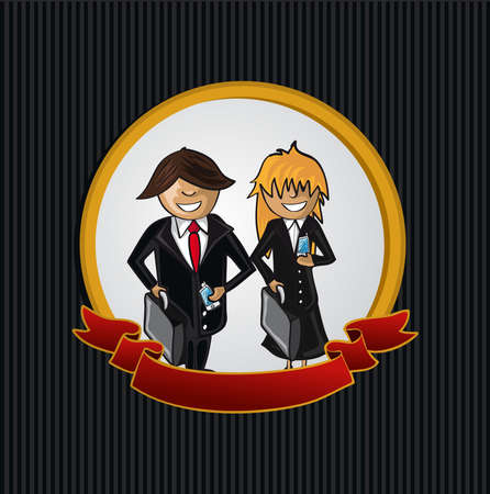 telemarketer: Service telemarketer man and woman cartoon label icon.