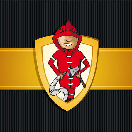 Service fireman cartoon law gold badge icon.  Vector
