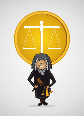 Service judge man cartoon law Justice scale icon.  Vector