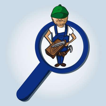Service online search icon carpenter man cartoon.  Vector