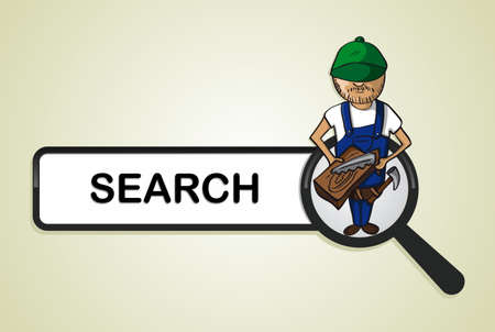 Service online search icon wood worker man cartoon.  Vector