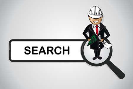 Service online search icon architect man cartoon.