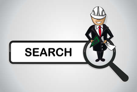 detect: Service online search icon architect man cartoon.