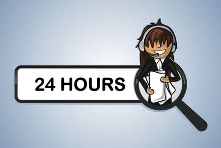 24 hours online search service telemarketer woman cartoon. Vector