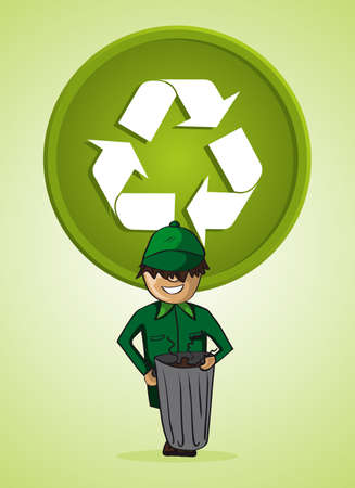 recycling center: Green service garbage collector cartoon recycle icon.