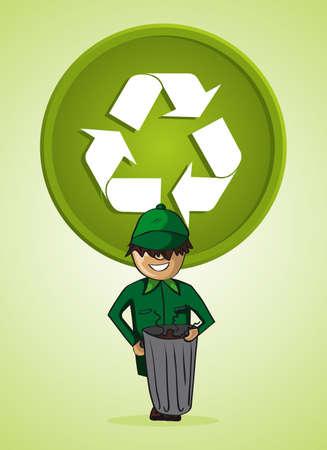 recolector de basura: Verde servicio recolector de basura de dibujos animados icono de reciclar.