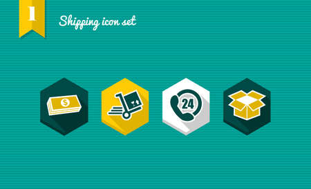 24 hours: Colorful Shipping flat icon set, payment delivery purchase online app.