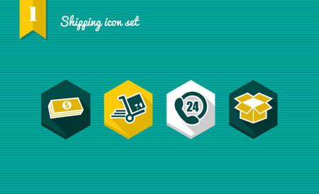 cuatro elementos: Envios colorido conjunto de iconos planos, pago contra reembolso compra de aplicación en línea.