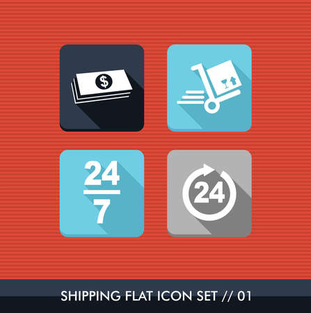 Colorful Shipping flat icon set, payment delivery purchase web app.  Stock Vector - 21509199