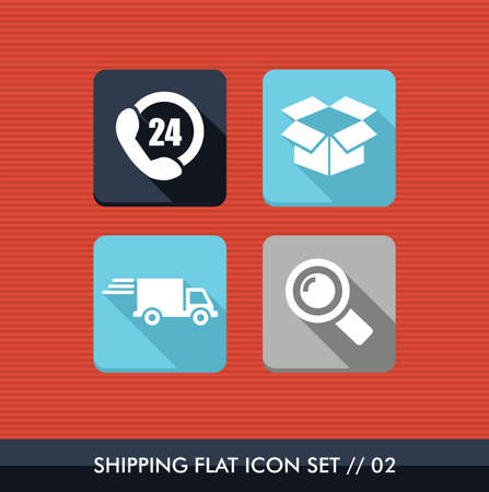 twenty four hours: Colorful Shipping flat icon set, always open buy delivery online app.