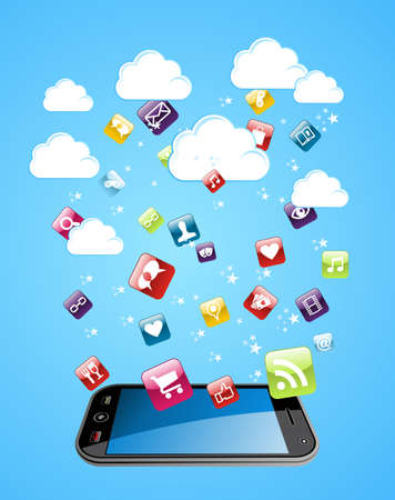 Cloud computing glossy app icons illustration   Vector