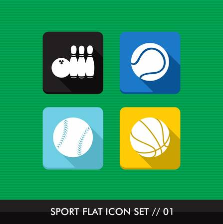 Colorful Sport workout flat icon set, leisure healthy fun web apps   Stock Vector - 21509207