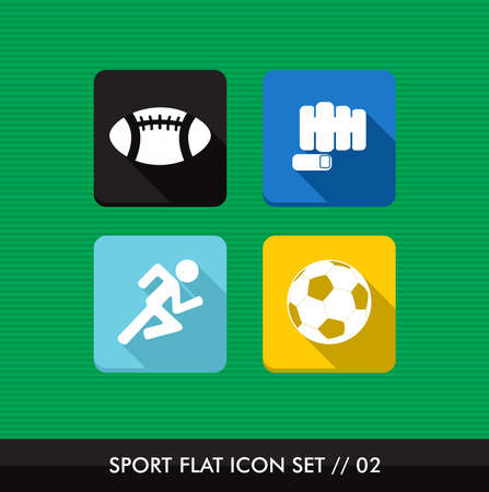 Colorful Sport workout flat icon set, outdoors training online app   Vector
