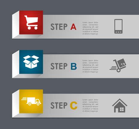 e commerce: E commerce info grafische pictogrammen stappen illustratie