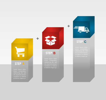 Web shopping and shipping info graphic icons steps   Vector
