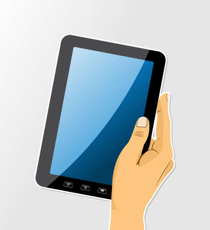 electronic tablet: Human hand holds an electronic tablet isolated over white background