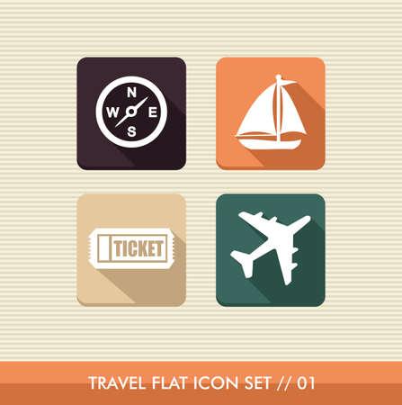 viajes: Viajes conjunto de iconos plana, vacaciones detalles de la aplicación en línea Vectores