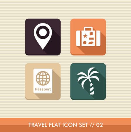 Travel flat icon set, vacations details reservation online app Stock Vector - 21509123