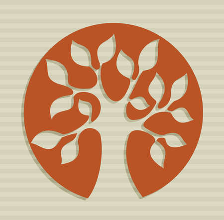 oak: Tree shape drawing over stripes background set   Illustration