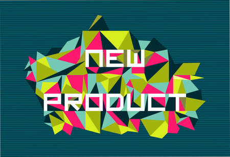 Trendy new product flat text over retro triangle composition background.