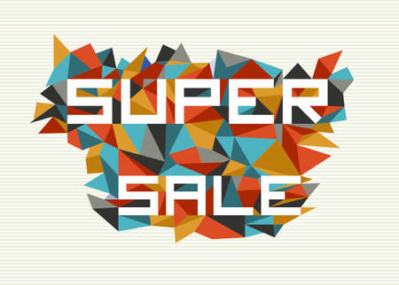 Trendy super sale flat text over retro triangle composition background.  Stock Vector - 21509004