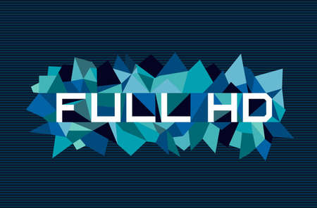 full hd: Trendy full hd flat text over retro triangle composition background.