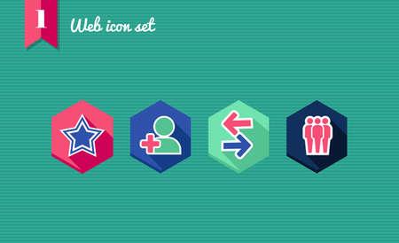 smm: Web applications flat icon set, social network elements.