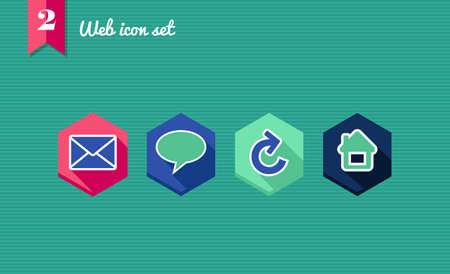Web applications flat icon set: social media elements. Vector
