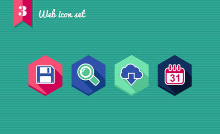 Web applications flat icon set, cloud storage internet elements.  Vector