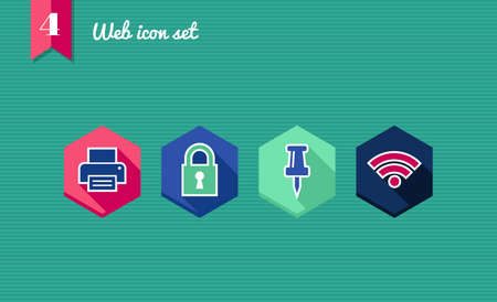 Web applications flat icon set, office elements.  Vector