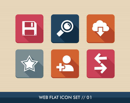 Web applications flat icon set, social media contact search elements. Vector