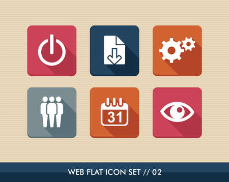 Web applications flat icon set, social media organization elements. Vector