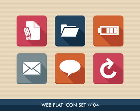 edit icon: Web applications flat icon set, social media messaging elements.