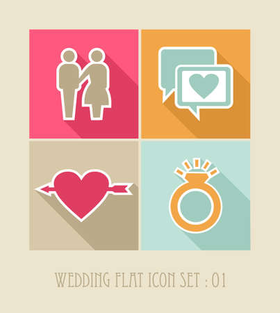 Wedding flat icon set, web apps: ceremony details celebration planning.  Vector